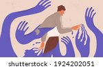 man struggling with fear ... | Shutterstock .eps vector #1924202051