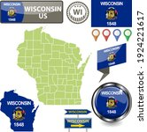 map of wisconsin state  us with ... | Shutterstock .eps vector #1924221617