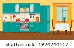 kitchen interior with furniture ...   Shutterstock .eps vector #1924244117