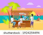 drinking coffee and eating in... | Shutterstock .eps vector #1924254494