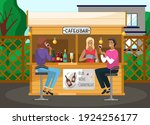 drinking coffee and eating in... | Shutterstock .eps vector #1924256177