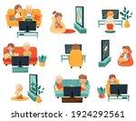little kids sitting on sofa and ... | Shutterstock .eps vector #1924292561