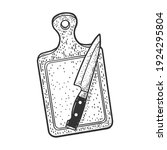 cutting board and knife sketch... | Shutterstock .eps vector #1924295804