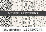 set of memphis style seamless... | Shutterstock .eps vector #1924297244