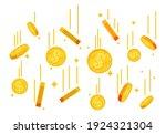 falling gold coins. money rain. ... | Shutterstock .eps vector #1924321304