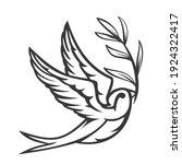 cartoon flying monochrome... | Shutterstock .eps vector #1924322417