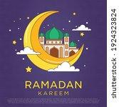 simple monoline cartoon ramadan ... | Shutterstock .eps vector #1924323824