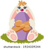 cute easter bunny holding an... | Shutterstock .eps vector #1924339244