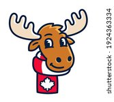 funny cartoon moose with scarf... | Shutterstock .eps vector #1924363334