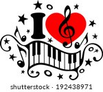 i love music   piano   music... | Shutterstock .eps vector #192438971