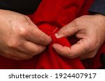 sanior old man or woman sews... | Shutterstock . vector #1924407917
