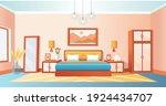 cozy interior bedroom with bed  ... | Shutterstock .eps vector #1924434707