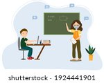 teacher and student at the...   Shutterstock .eps vector #1924441901