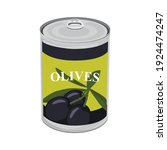 tin can with black olives... | Shutterstock .eps vector #1924474247