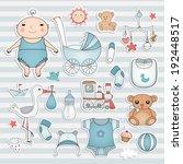 baby boy shower.  cute paper... | Shutterstock .eps vector #192448517