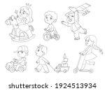 kids in kindergarten play with... | Shutterstock .eps vector #1924513934