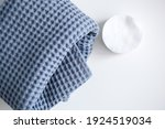 white cosmetic disc and blue...   Shutterstock . vector #1924519034