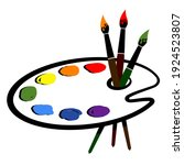 Artistic Palette With Paint And ...