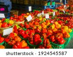 Peppers and other vegtables on sale in the Jean-Talon Market Market, Little Italy district, Montreal, Quebec, Canada