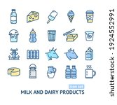 milk dairy products signs color ... | Shutterstock . vector #1924552991
