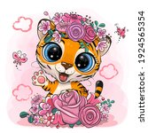 cute cartoon tiger with flowers ... | Shutterstock .eps vector #1924565354