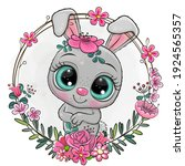 cute cartoon gray rabbit in a... | Shutterstock .eps vector #1924565357