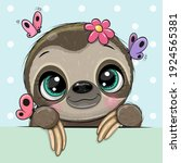 cute cartoon sloth with... | Shutterstock .eps vector #1924565381