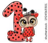 Cute Cartoon Owl And Ladybug...