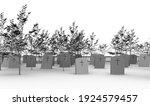 3d illustration of a cemetery... | Shutterstock . vector #1924579457