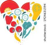 fruits heart card. fruits ... | Shutterstock .eps vector #1924631594