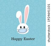 easter bunny with face mask.... | Shutterstock .eps vector #1924641101