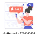 girl with a smartphone receives ...   Shutterstock .eps vector #1924645484