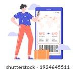 man stands near a giant...   Shutterstock .eps vector #1924645511