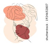 abstract woman face one line...   Shutterstock .eps vector #1924652807