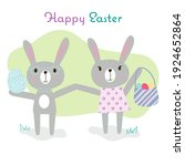 Hand Drawn Easter Bunny Girl In ...