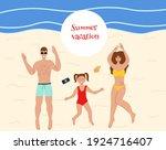 family resting on the beach...   Shutterstock .eps vector #1924716407