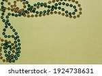 Simple gold and green beaded...