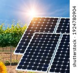 Small photo of Solar Panel System, Photovoltaic, alternative electricity source - concept of sustainable resource