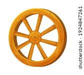 wooden wheel in cartoon style ...
