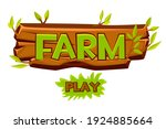 wooden farm logo for ui game...