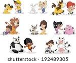 group of happy cartoon children ... | Shutterstock .eps vector #192489305