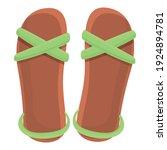 Lady Sandals Icon. Cartoon Of...