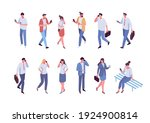 isometric people phone talking. ... | Shutterstock .eps vector #1924900814