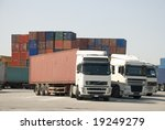 trucks and freight containers