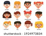 cute kids emotions collection....   Shutterstock .eps vector #1924973834