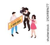 isometric fortune lottery win...   Shutterstock .eps vector #1924989677