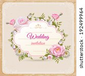 vintage invitation with flowers ... | Shutterstock .eps vector #192499964