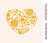 various italian pasta heart... | Shutterstock .eps vector #1925010761