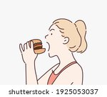 the woman opened her mouth to... | Shutterstock .eps vector #1925053037