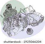 hand drawn mechanic in a... | Shutterstock .eps vector #1925066204